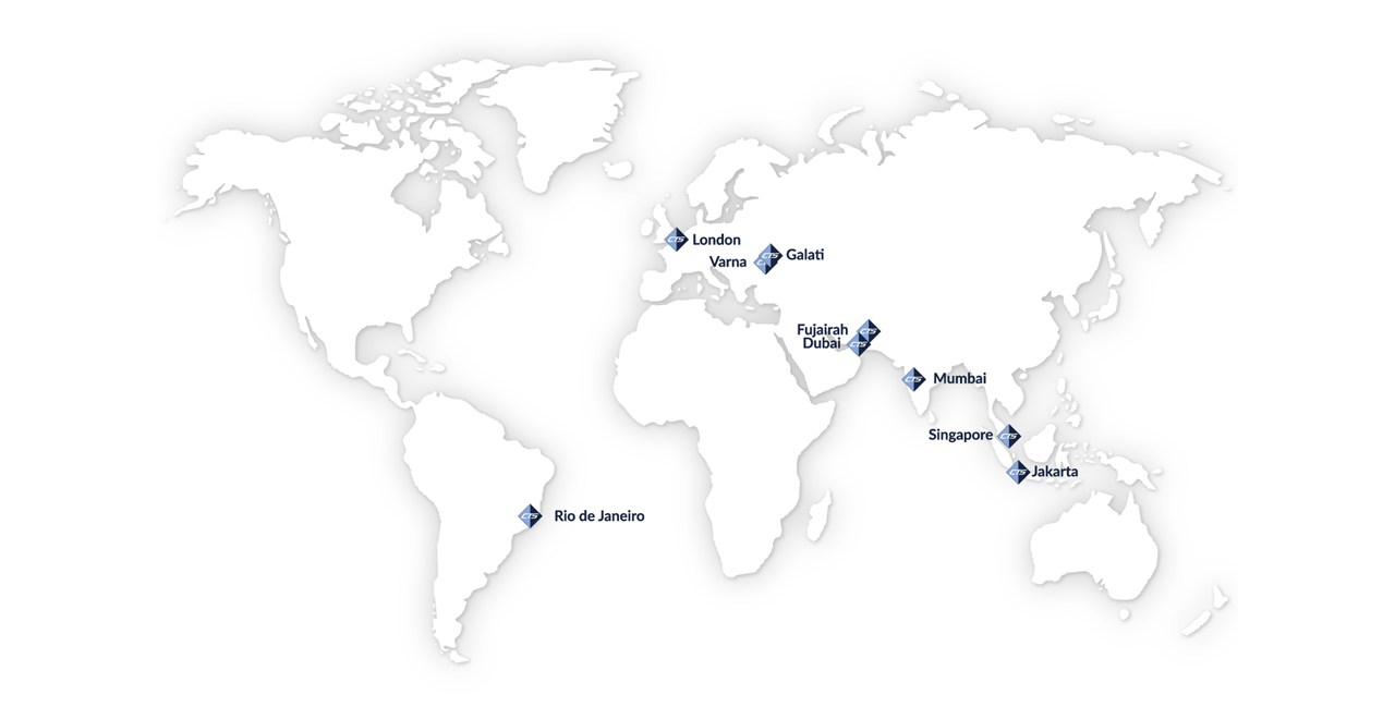 World Map Showing Global Offices for CTS Offshore and Marine