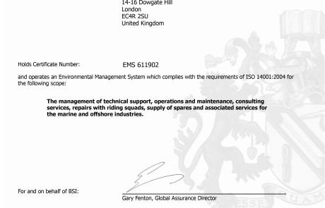 CTSOM - ISO 14001 Certificate