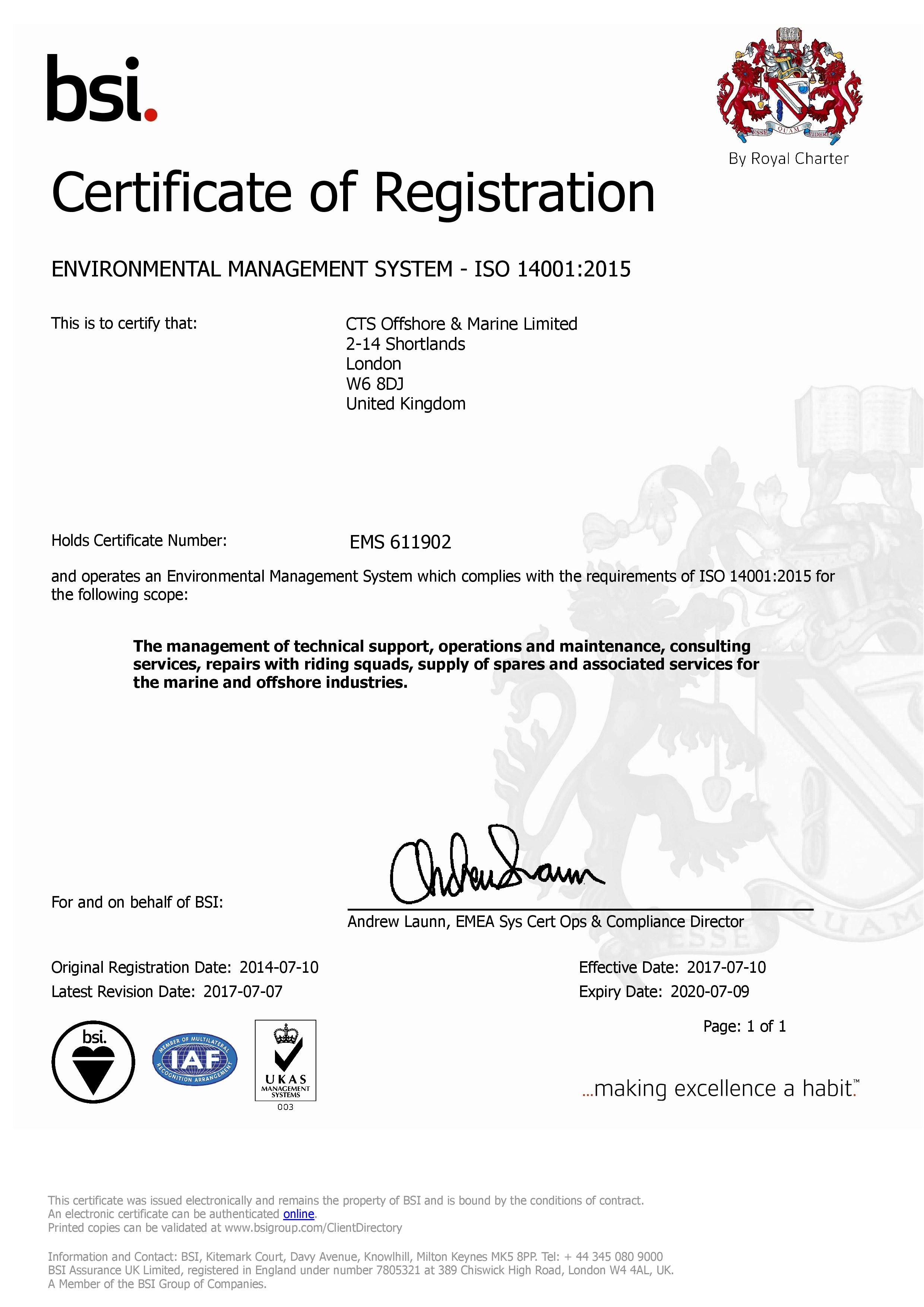 ISO 14001 Certificate | CTS Offshore and Marine Limited