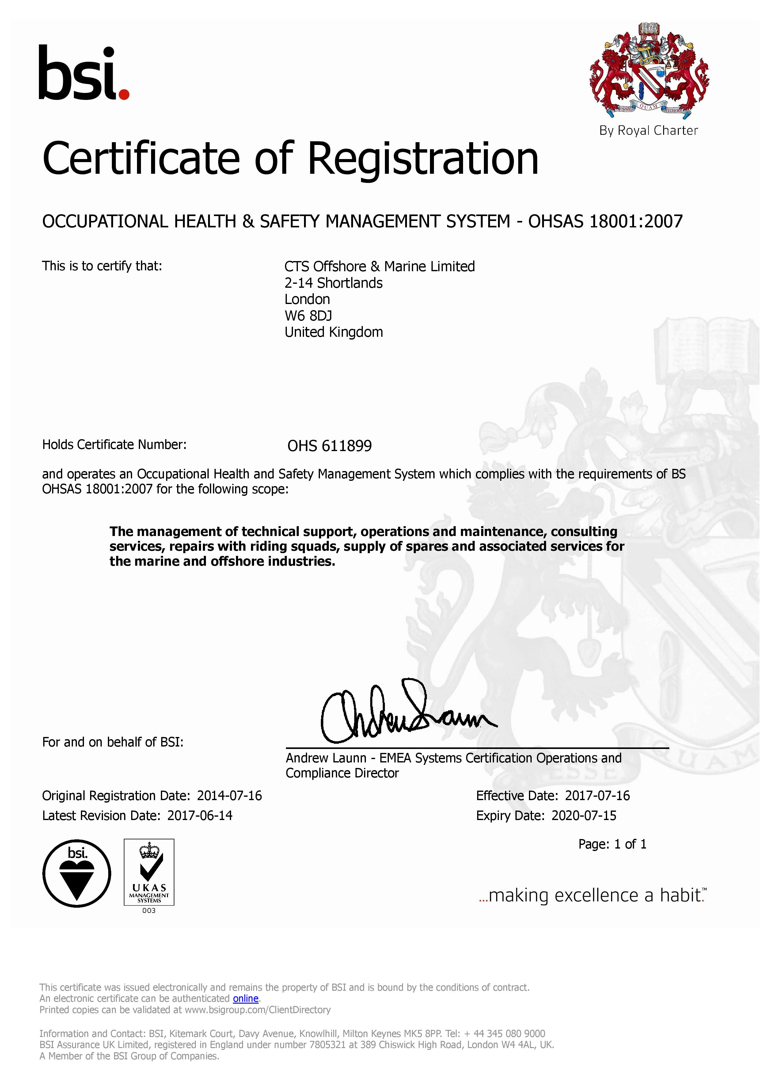 ISO 18001 Certificate | CTS Offshore and Marine Limited