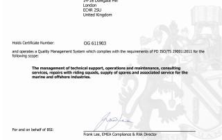 CTSOM - ISO 29001 Certificate