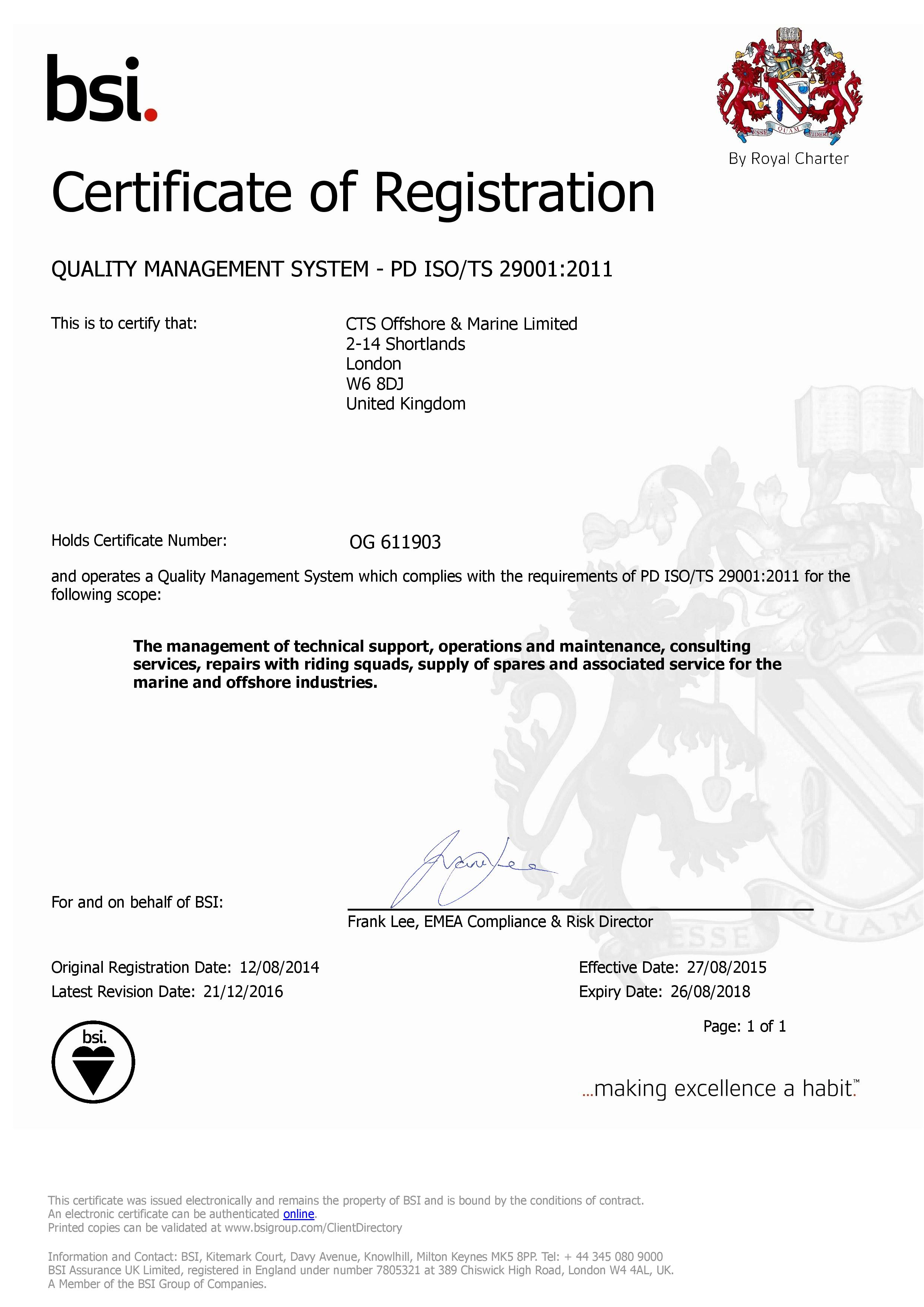 ISO 29001 Certificate | CTS Offshore and Marine Limited