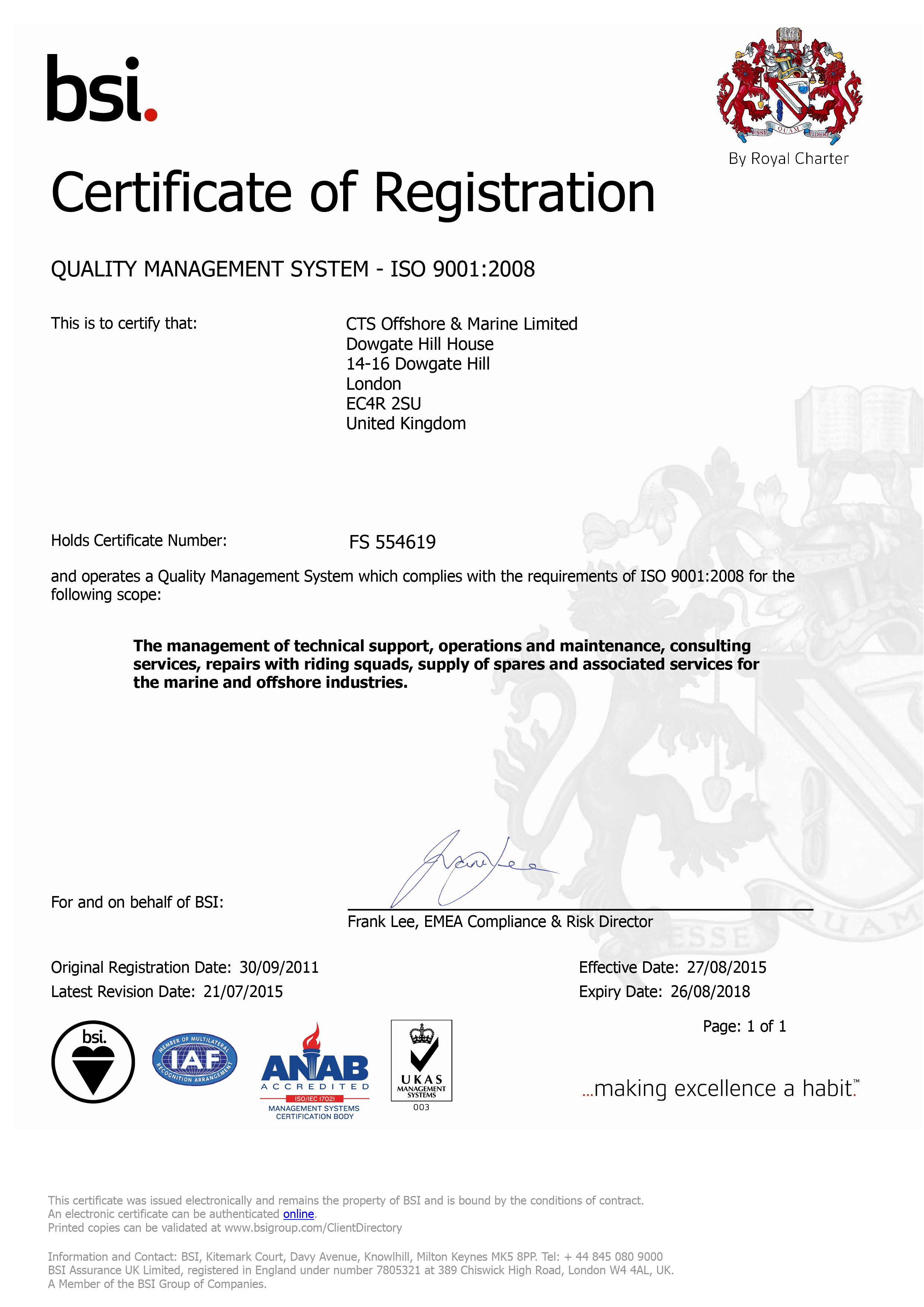ISO 9001:2008 Certificate | CTS Offshore and Marine Limited