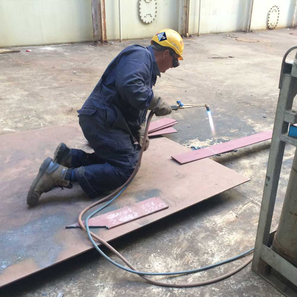 CTS Technician Completing Welding on Sister Ships