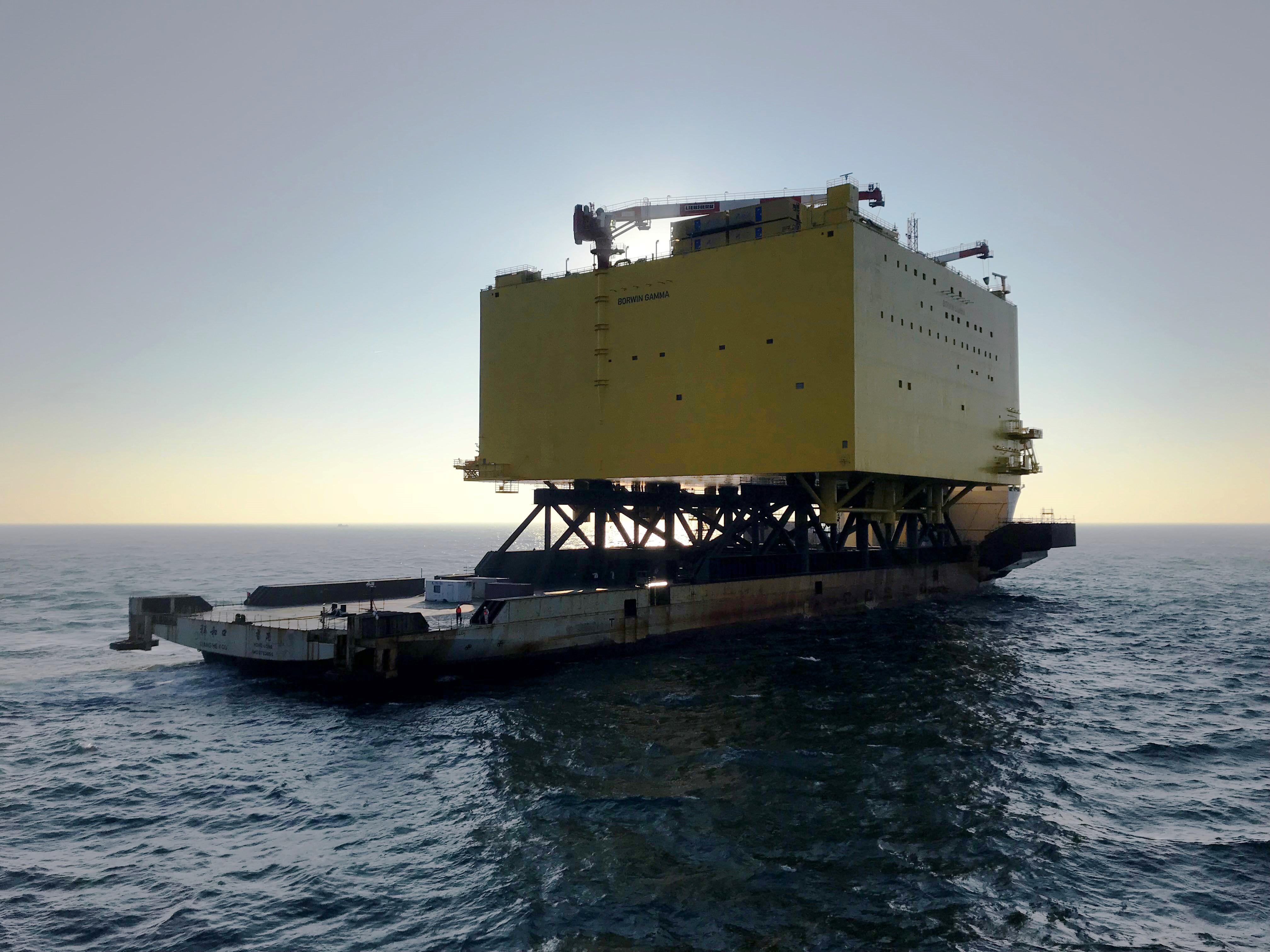 BorWin gamma topside being transported via heavy lift vessel
