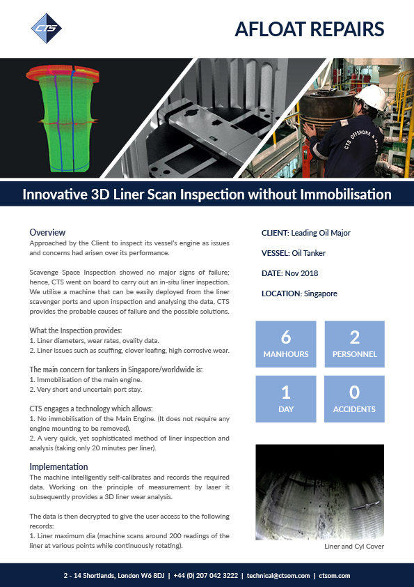 Innovative 3D Liner Scan Inspection without Immobilisation