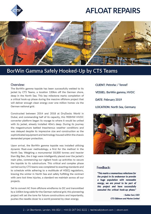 BorWin gamma topside hook up case study