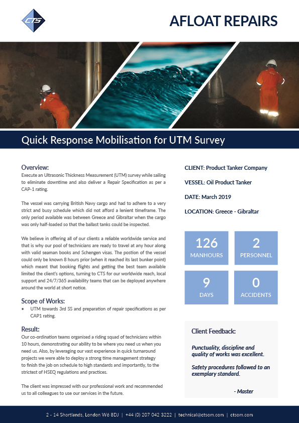 Quick Response Mobilisation for UTM Survey