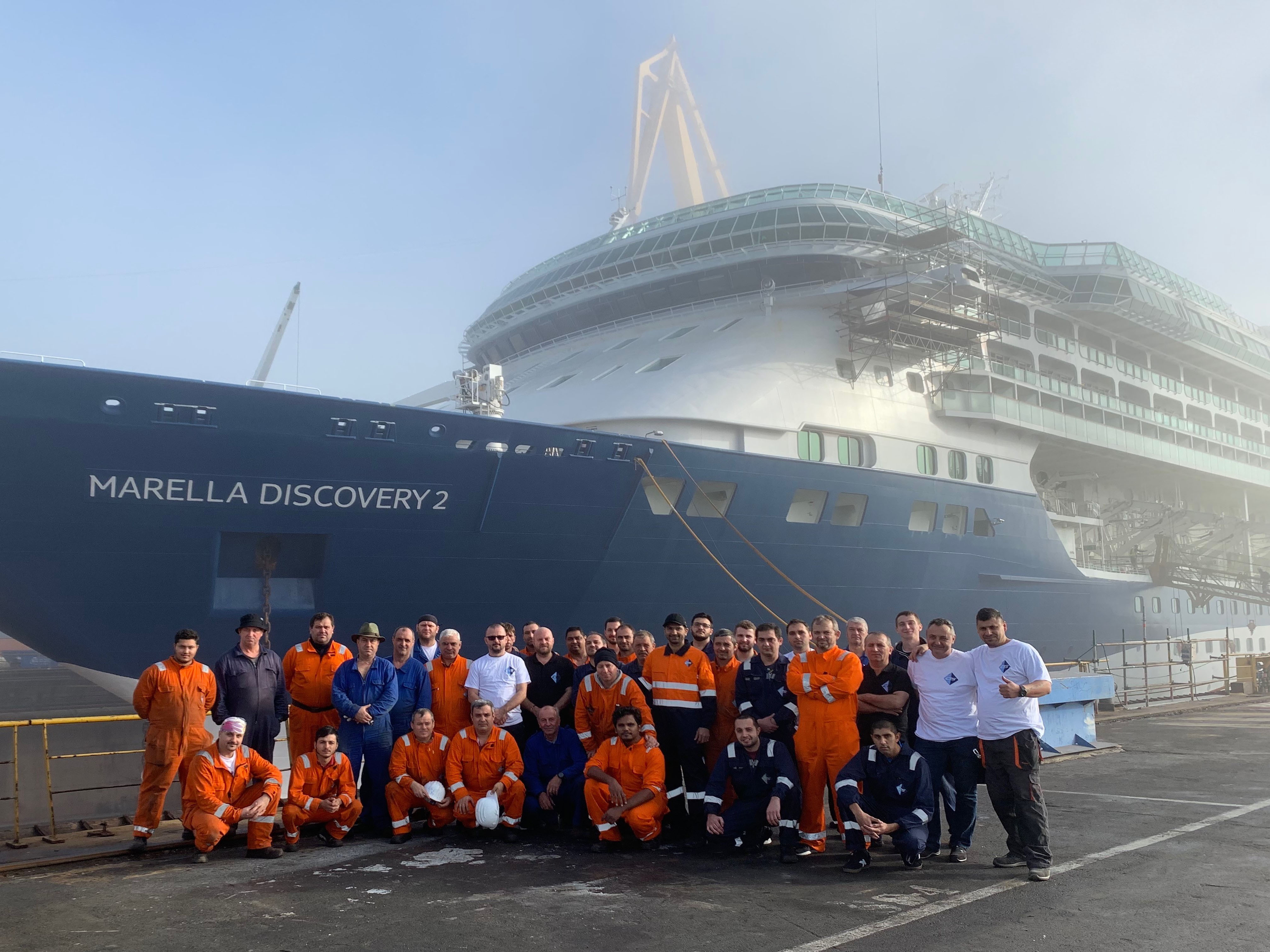 Team Photo in front of Cruise Vessel