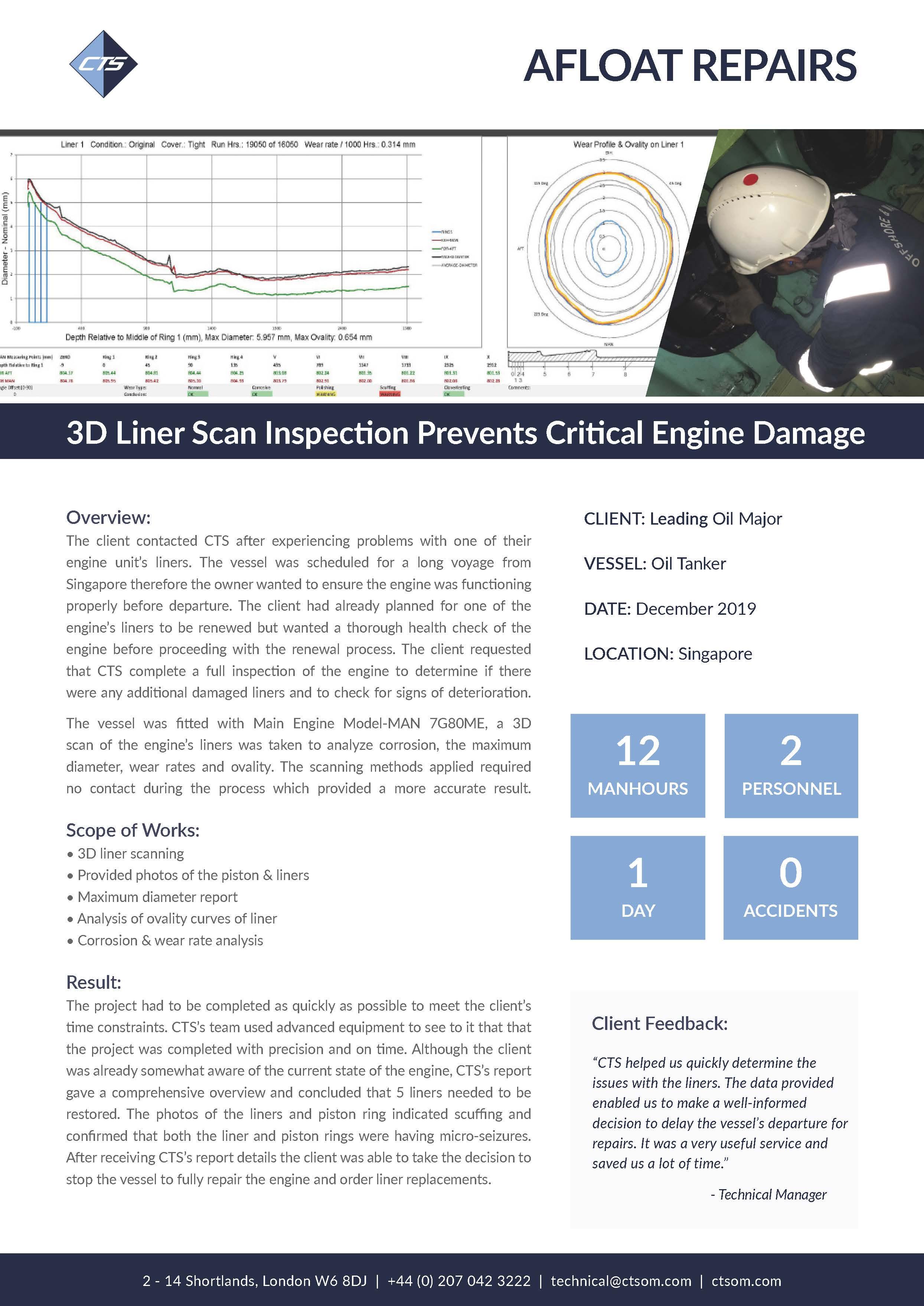 3D Liner Scan Inspection Prevents Critical Engine Damage