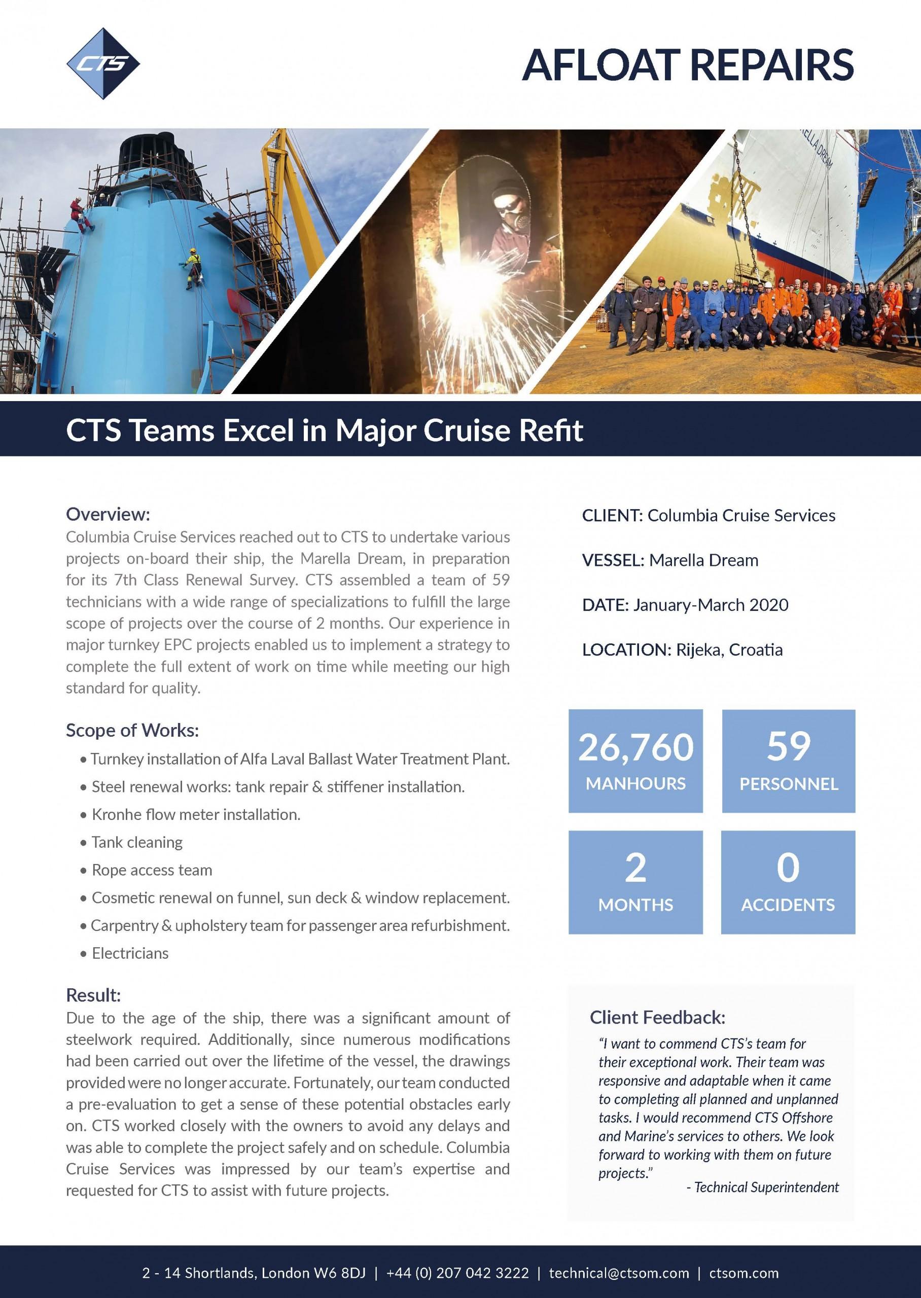 CTS Teams Excel in Major Cruise Refit