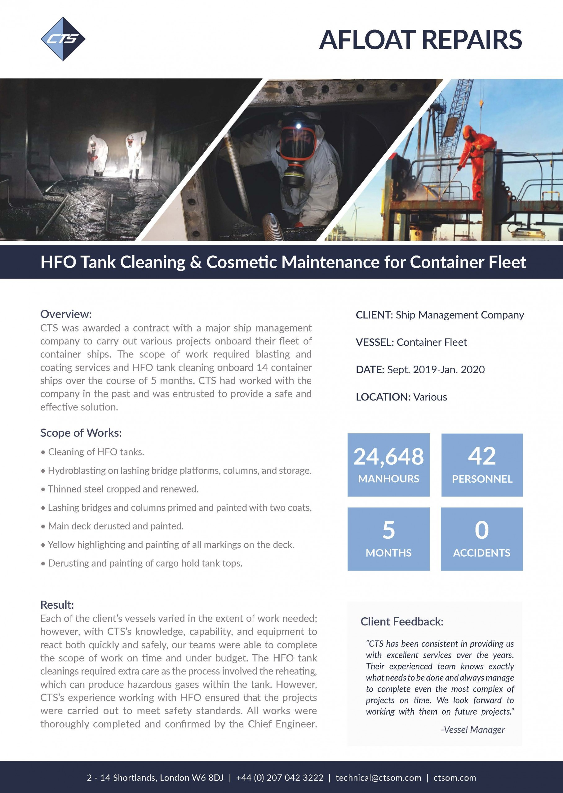 HFO Tank Cleaning and Cosmetic Maintenance for Fleet